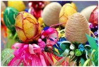 Highly Embellished Easter Eggs Displayed on Ribbon Festooned Sticks