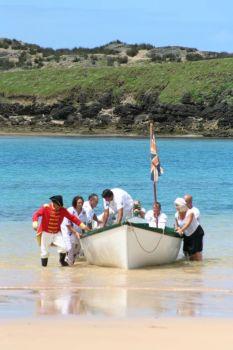The British take claim Norfolk Island. (Re-enactment)