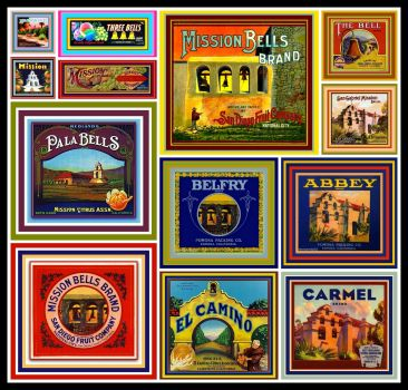 Vintage Fruit Crate Labels Depicting California Missions Bells
