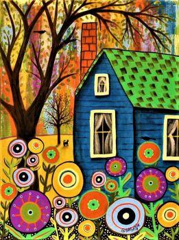 Blue Cottage - by Karla Gerard