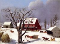"""Sleighs Arriving at the Inn""-George Henry Durrie-1851"
