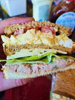 Egg salad, tuna salad, and Pepper Jack cheese sandwich