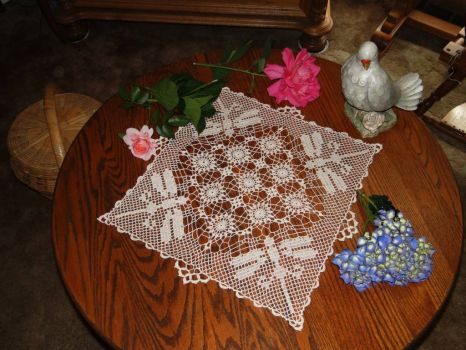 Dragonfly Doily and color for fun puzzle