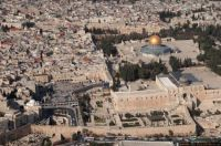 Israel From The Air. Jerusalem, the Old City and Temple Mount. Adjacent to the South  West corner...