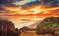 Newport Beach CA Cloudy Sunset at Crystal Cove