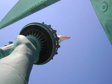 Looking up to Statue of Liberty's torch from her crown