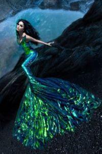 Mermaid in green, large