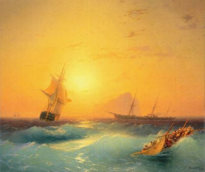 American Shipping off Rock of Gibraltar by Ivan Aivazovsky