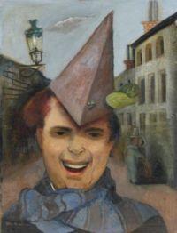 Felix Nussbaum (1904–1944), Selbstbildnis mit Papierhut und Blauem Schal (1936)