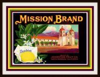 Vintage Fruit Crate Labels Depicting California Missions