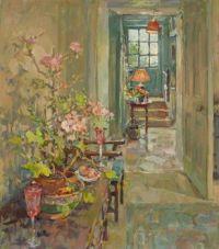 Geraniums and hallway