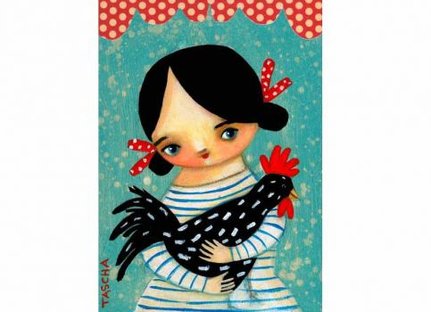 farm girl with spotted rooster by Tascha