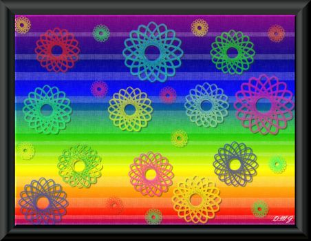 Crochet Flowers on Rainbow  :)) IV (Link to supersize puzzle inside)