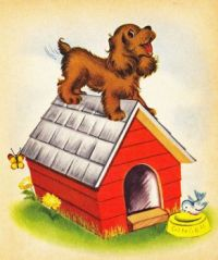 Dog on dog house