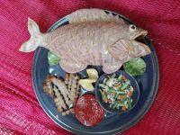 Ceramic fish dinner by Sue Mattox