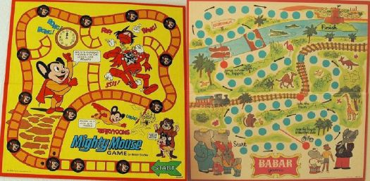 Mighty Mouse & Babar Game Boards