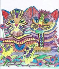 Summer Bliss Coloring Garden Cats