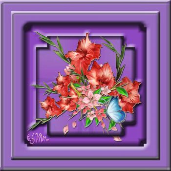 Flowers In A Lavender Frame...