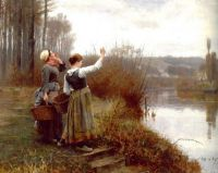 "Daniel Ridgway Knight, ""Hailing the Ferry"""