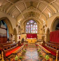 Alcester 23-04-2017 St Nicholas Parish Church internal east window & high altar composite 01