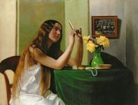 At the Dressing Table Painting by Felix Edouard Vallotton