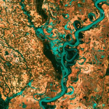 Meandering Mississippi River-shot by satellite over 40 yr span