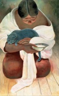Woman with Grey Cat