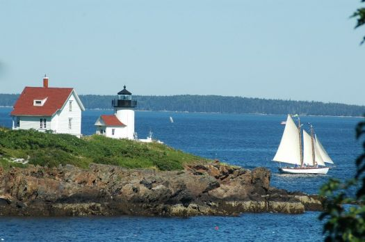 Curtis Island lighthouse in Camden Harbor, in West Penobscot Bay