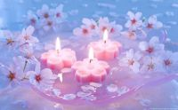 Pink candles and flowers...