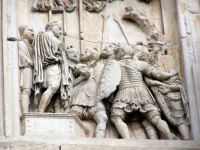 The Arch of Constantine: Detail of relief panel, south side, right panel of left arch