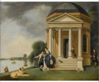 Johann Zoffany, David Garrick and His Wife by His Temple to Shakespeare at Hampton (ca 1762)