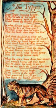 William Blake's - Tyger - His illustration and engraving as it first appeared.