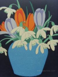 Snowdrops and Crocuses in a Blue Vase