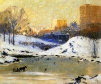 """Central Park in Winter""-Colin Campbell Cooper"