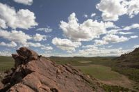 desert rocks with dog