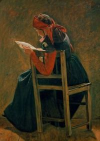 """Christen Dalsgaard, """"A young girl from Salling reading"""""""