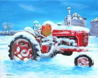 Vintage tractor in snow