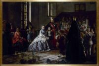Napoleon III and the imperial family visiting an orphanage in Fontainebleau