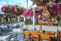 Outdoor cafe in Mykonos, Greece