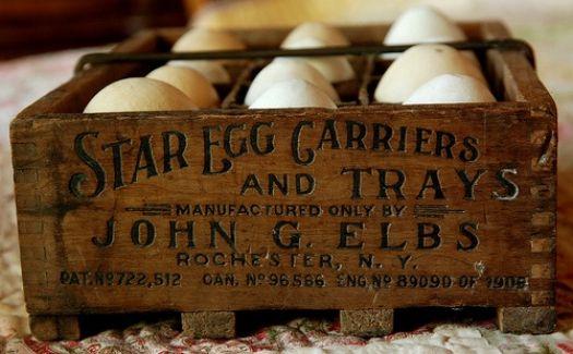 antique egg carrier