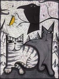 Corvid & Two Cats