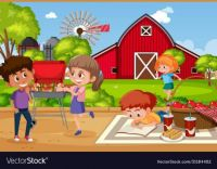 Background Scene With Kids Eating