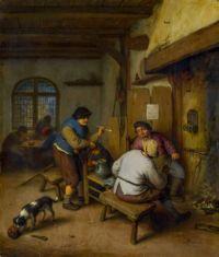Three Peasants in a Tavern, round a Fire