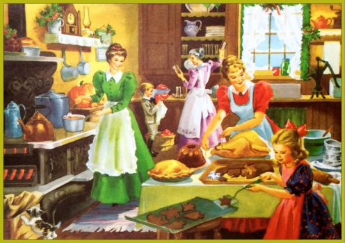 Colonial Family in Kitchen Make Christmas Dinner