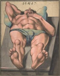 Monogrammist AW, Male Nude Lying on a Table (1567)