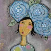 Blue flower hat girl