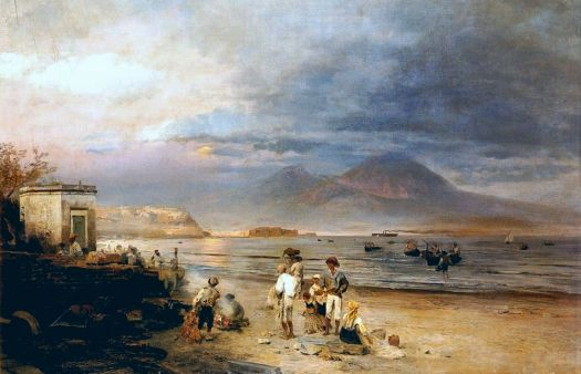 Fishermen with the Bay of Naples and Mt. Vesuvius Beyond, 1877 by Oswald Achenbach