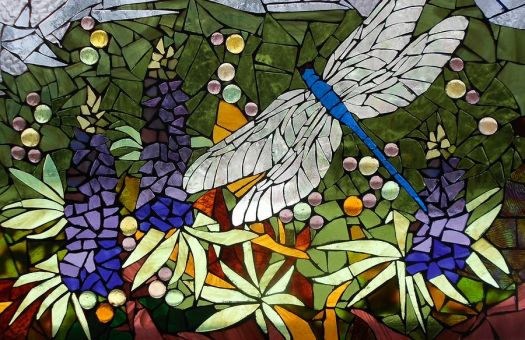 Stained Glass - Lupines and Dragonfly