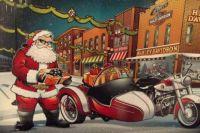 Santa Claus with his Harley Davidson