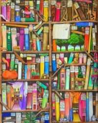 Brightly Colored Book Shelves